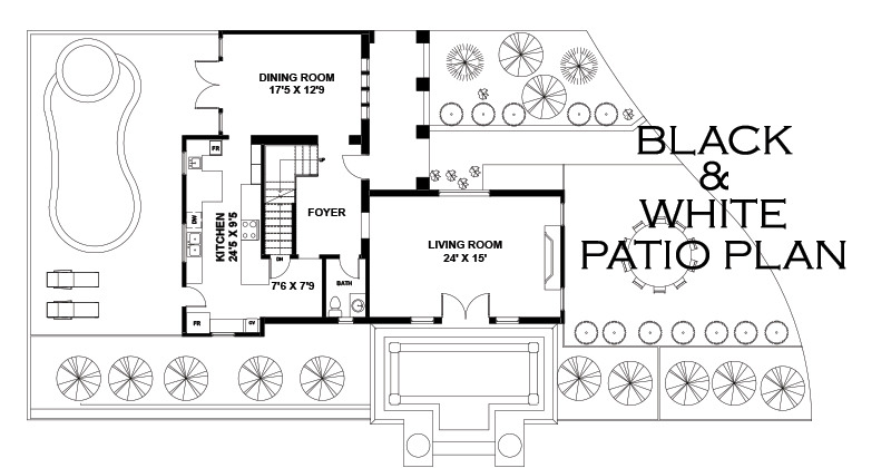 Black and White Patio Plan
